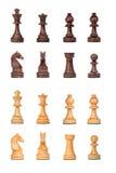 Pièces d'échecs noires et blanches réglées Photo libre de droits