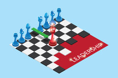 Pièces d'échecs rouges et bleues isométriques sur l'échiquier avec le mot, la direction et le concept d'affaires illustration libre de droits