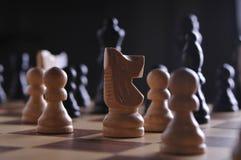 Pièces d'échecs sur le panneau Photographie stock libre de droits