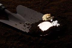 Pièces d'or, argent et bronze et pelle de Bitcoin photographie stock