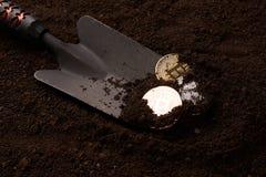 Pièces d'or, argent et bronze et pelle de Bitcoin photographie stock libre de droits