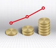 Pièces d'or de graphique de croissance économique Photo libre de droits
