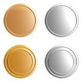 Pièces d'or et en argent Photographie stock