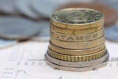 Pièces de monnaie à la page d'affaires Photo libre de droits