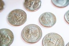 Pièces de monnaie américaines Certains sont vieux historique Photo stock