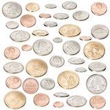 Pièces de monnaie américaines d'argent d'isolement Image libre de droits