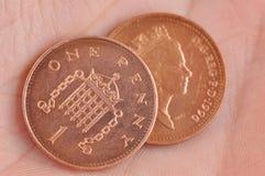 Pièces de monnaie anglaises Images stock