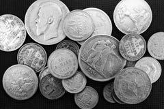 Pièces de monnaie antiques argentées Photos libres de droits