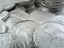 Pièces de monnaie argentées de lingot des États-Unis de l'aigle $1 Photos libres de droits