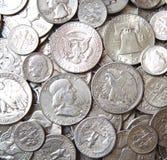Pièces de monnaie argentées des Etats-Unis Image libre de droits
