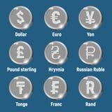Pièces de monnaie argentées de logo de devise illustration de vecteur