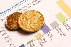 Pièces de monnaie australiennes sur le graphique de rendement du marché Image stock