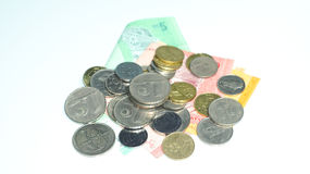 Pièces de monnaie avec des billets de banque de la Malaisie Photo de concept Photos stock