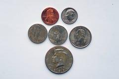 Pièces de monnaie avec des portraits des Etats-Unis Images stock