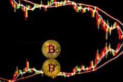 Pièces de monnaie de Bitcoin avec le diagramme global de prix du marché d'échange commercial à l'arrière-plan image libre de droits