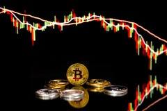 Pièces de monnaie de Bitcoin avec le diagramme global de prix du marché d'échange commercial à l'arrière-plan photos libres de droits