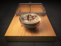 Pièces de monnaie de Bitcoin BTC dans la souricière à clapet Risque financier Co d'invetsment Photos libres de droits