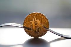 Pièces de monnaie de Bitcoin de fourchette photographie stock libre de droits