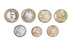 Pièces de monnaie brésiliennes Photo stock