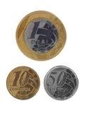 Pièces de monnaie brésiliennes d'isolement Photo libre de droits