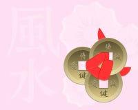 Pièces de monnaie chanceuses de Feng Shui Photographie stock