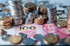 Pièces de monnaie chinoises de RMB Photographie stock libre de droits