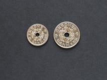 Pièces de monnaie de couronne danoise, Danemark photographie stock libre de droits
