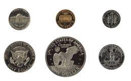 Pièces de monnaie d'épreuve des Etats-Unis d'isolement Image stock