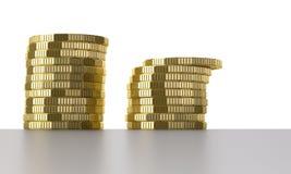 Pièces de monnaie d'or illustration stock