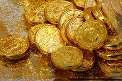 Pièces de monnaie d'or Photo stock