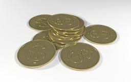 Pièces de monnaie d'or Photographie stock libre de droits