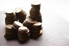 Pièces de monnaie d'argent photographie stock