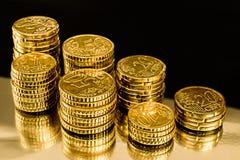 Pièces de monnaie d'argent d'or Photographie stock libre de droits