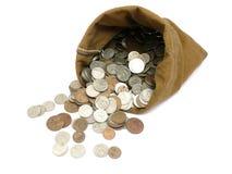Pièces de monnaie d'argent dans le sac Photo stock