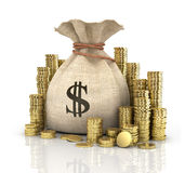 Pièces de monnaie d'argent dans le sac photo libre de droits