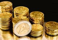 Pièces de monnaie d'argent de l'Europe Images libres de droits