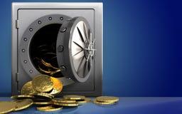 pièces de monnaie 3d au-dessus de bleu Photos libres de droits