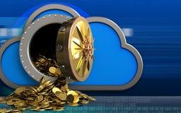 pièces de monnaie 3d d'or au-dessus de cyber Image stock
