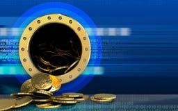 pièces de monnaie 3d au-dessus de cyber Images libres de droits