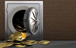 pièces de monnaie 3d au-dessus des briques illustration stock