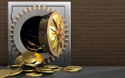 pièces de monnaie 3d au-dessus des briques Photos libres de droits