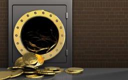 pièces de monnaie 3d au-dessus des briques Photo libre de droits