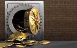 pièces de monnaie 3d au-dessus des briques illustration libre de droits