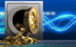 pièces de monnaie 3d d'or au-dessus des vagues numériques Photo stock