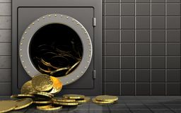 pièces de monnaie 3d au-dessus du mur en acier Photographie stock