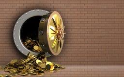pièces de monnaie 3d d'or au-dessus de mur de briques Photographie stock libre de droits