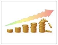 Pièces de monnaie d'or augmentant des piliers et une flèche montrant le growth& financier x27 ; risques et instabilité de s Photo libre de droits