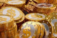Pièces de monnaie d'or avec le symbole du dollar Photos libres de droits
