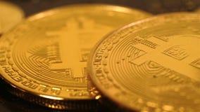 Pièces de monnaie d'or de Bitcoin banque de vidéos