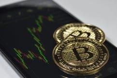 Pièces de monnaie d'or de bitcoin s'étendant sur le diagramme du marché Images stock